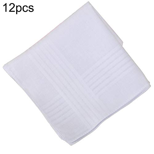 hefeibiaoduanjia 12 Piezas 40 Cm Pañuelo, Pañuelo De Algodón Blanco Bolsillo Cuadrado Pañuelo Sudor Traje De Fiesta Pañuelo Blanco