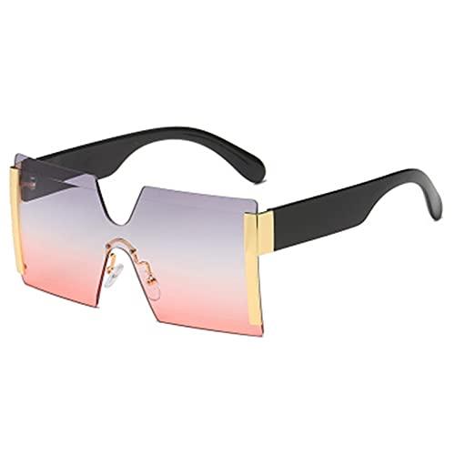 SLAKF Gafas duraderas Moda de Gran tamaño Cuadrado Gafas de Sol sin llanta de Sol Mujer Plana Plana Grandes Gafas de Sol Hembra de una Pieza (Lenses Color : Gold f Gray Red)