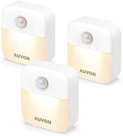 AUVON Stick On Motion Sensor Night Light Battery Powered LED Nightlight with Adjustable Brightness product image