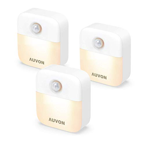 AUVON Stick-On Motion Sensor Night Light, Battery Powered LED Nightlight with Adjustable Brightness and Dusk-to-Dawn Sensor for Bedroom, Bathroom, Kitchen, Hallway, Stairs, (3 Pack)