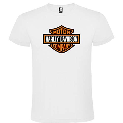 ROLY Camiseta Blanca con Logotipo de Harley Davidson Hombre 100% Algodón Tallas S M L XL XXL Mangas Cortas (M)