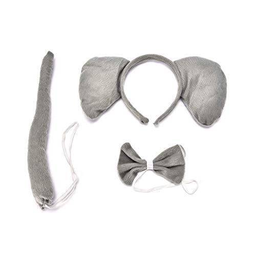 FATTERYU Kind Erwachsene Tier Kostüm Set Große Elefantenohren Stirnband Fliegen Langen Schwanz Halloween Party Favors Cosplay Kit Geburtstag Decor 2