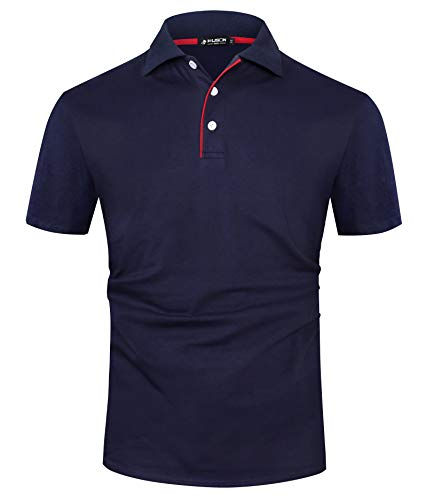 Kuson Herren Poloshirt Kurzarm Patchwork Sommer T-Shirt Men's Polo Shirt Baumwolle Navyblau L