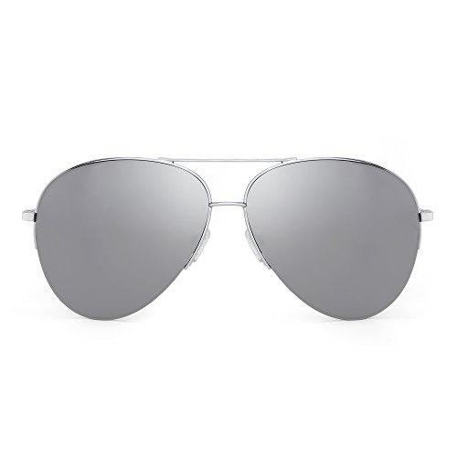 JIM HALO Gafas de Sol Aviador de Espejo Retro Oversized Semi-Rimless Anteojos Mujer Hombre(Plateado/Plateado Espejo)
