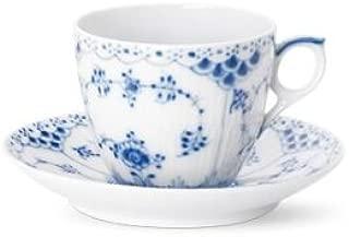 Royal Copenhagen Blue Fluted Half Lace 1102071 Cup and Saucer 5 3/4 Ounces