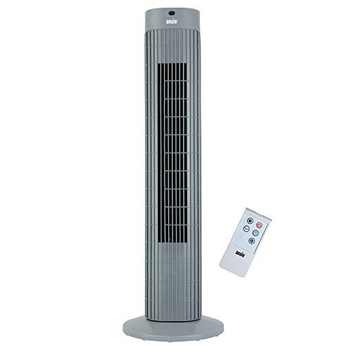 ANSIO Oszillierender Turmventilator mit Fernsteuerung- Säulenventilator - 75CM Standventilator - Ventilator - 3-stufigem Windmodus mit 3 Drehzahlen und langem Kabel(1,75m) Grau