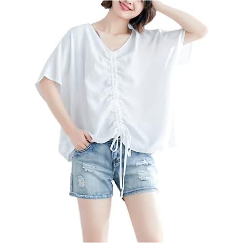 Camisa clásica de Manga Corta de Literatura y Arte Vintage para Mujer Camisa de Blusa Suelta con Cuello...