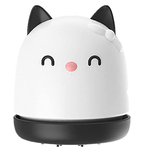 Mini Vacuum Cleaner, Desk Vacuum Cute,Desk Dust Cleaner Mini Table Cat Vacuum Scraps, Collector Kitchen Gadget Office Supplies, Hairs,Crumbs,Scraps for Laptop,Piano,Computer,Keyboard (White)
