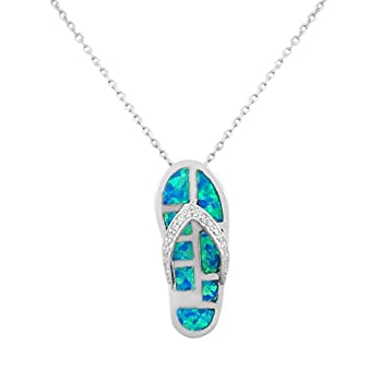 925 Sterling Silver CZ Flip-Flop Slipper Blue Turquoise-Tone Simulated Opal Pendant Necklace
