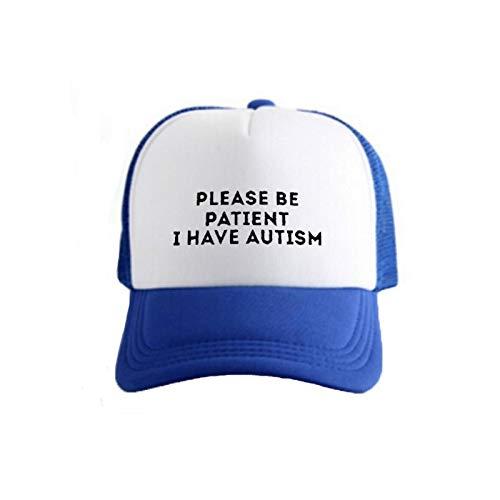 OF Pkorli Women's Cap Please Be Patient I Have Autism Letter Printed Unisex Baseball Caps Men's Summer Mesh Net Trucker Hat