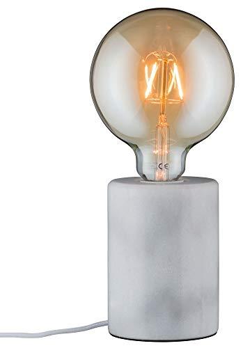 Paulmann 79601 Neordic Nordin Tischleuchte max. 1x20W Tischlampe für E27 Lampen Nachttischlampe Weiß 230V Marmor ohne Leuchtmittel