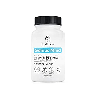 JustFloow Genius Mind | Cognitive Enhancer | 17 Brain Supporting Ingredients Including Ginkgo, Bacopa, Lions Mane, Vitamin B12 | Nootropic That Boost Energy, Focus, Memory and Mental Performance