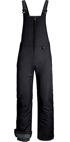 GEMYSE Women's Insulated Waterproof Ski Bib Overalls Winter Snowboarding Pants (Black C,Medium)