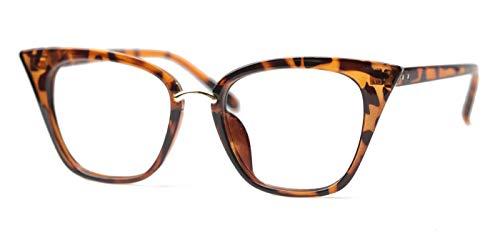 SOOLALA Womens Quality Readers Stylish Oversized Cat Eye Custom Reading Glasses, Leopard, 1.25x