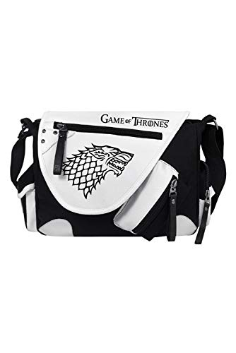 RedJade Game of Thrones Stark Direwolf Sigil Crossbody Messenger Bag Handbag Tote Shoulder Bag Handtasche Einkaufstasche cabostasche Cosplay Schultasche Negro