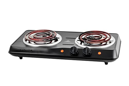 Ovente 1700W Double Hot Plate Electric Countertop Coil Stove 5.7 & 6 Inch with Dual 5 Level Temperature Control & Stainless Steel Base, Easy Clean Portable Cooktop Burner for Cooking, Black BGC102B