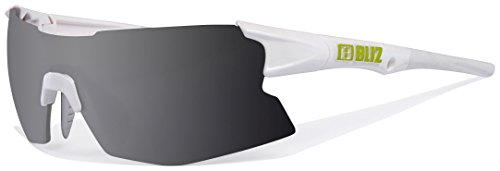 BLIZ TEMPO SMALLFACE Sonnenbrille Sportbrille Radbrille S3 Wechselgläser 9025(9025-00 Frame: WHITE/LIME / Lens: SMOKE/SILVER MIR)