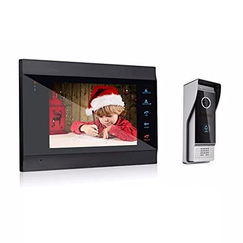 HYAN Timbre Sistema de intercomunicación de Video WiFi inalámbrico de 7 Pulgadas con cámara de Timbre con Cable de 1x1200tvl para un desbloqueo Remoto Timbre Inalambrico (Color : Black)