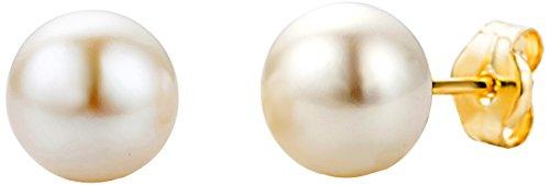 Miore Ohrringe Damen Klassische Perlen Ohrstecker aus Gelbgold 9 Karat/ 375 Gold mit weißer Süßwasserzuchtperle – Perlenschmuck