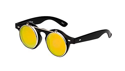 Ultra Schwarz Rahmen Gold Linsen Flip Up Ronde Steampunk Sonnenbrille Retro Frau Mann UV400 UVA Vintage Victorian Kreis Retro Sonnenbrille Steampunk Brille Sonnenbrille zum Hochklappen