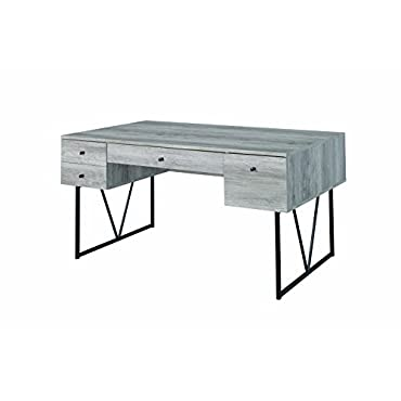 Analiese 4-drawer Writing Desk Grey Driftwood and Black