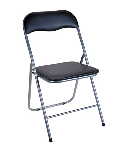 Spetebo Klappstuhl Metall - schwarz - mit Kunststoffpolster und Lehne - gepolsteter Beistellstuhl