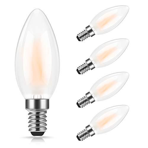 Lampadina a candela piccola Edison a LED da 4W, 4PACK lampadine DORESshop con filamento smerigliato perlato, lampadine a filamento C35, equivalente a incandescenza 40W, bianco caldo 2700K