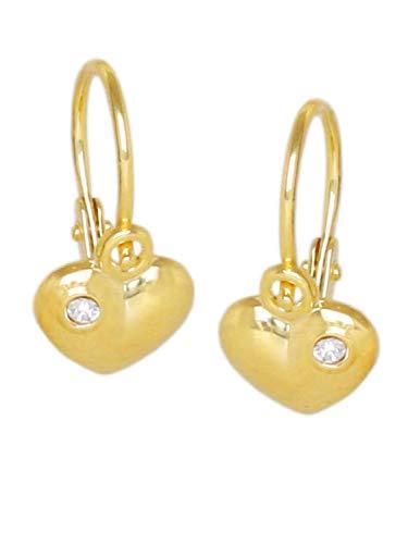 MyGold, pendente a cuore, orecchini in oro giallo 333Oro (8carati) 12mm x 6mm a forma di cuore con 2 pietre zirconi battesimo, comunione, orecchini oro, orecchini bambino V0013340