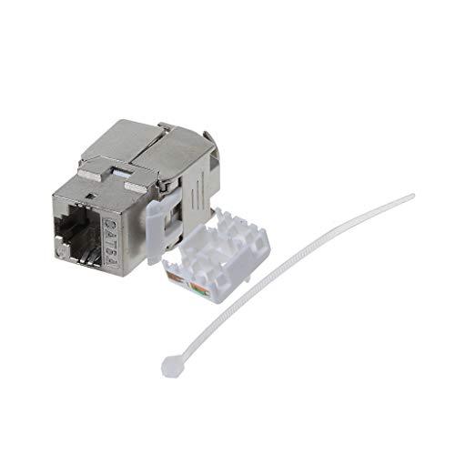 1 módulo Keystone CAT6A macho - Completamente apantallado STP RJ45 hembra sin herramientas gracias a su montaje Snap-In Cat, cable crudo de 500 Mhz, 10 GBit/s, cable Ethernet