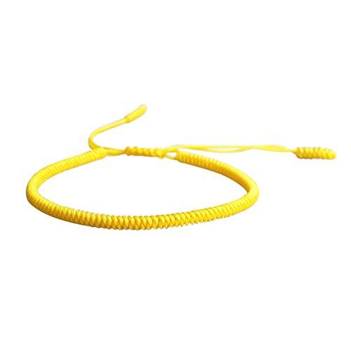 Lucky Buddhist – Tibetisches Glücksarmband + Anhänger/Halskette! – Für Männer, Frauen, Teen – Geflochtene Freundschaftsarmbänder, Handgefertigt – Einstellbares Armband für das Handgelenk (Gelb)