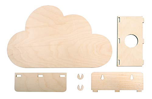 Rayher 62987505 Holzbausatz Lampe kl. Wolke,FSCMixCred, Natur, 31 x 18,5 x 7,5 cm, 6-teilig, Box 1 Set, Normal