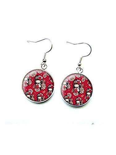 Pendientes de plata, tachuelas de cristal kokeshi, rojo y negro, pendientes de plata de cristal kokeshi, rojo y negro
