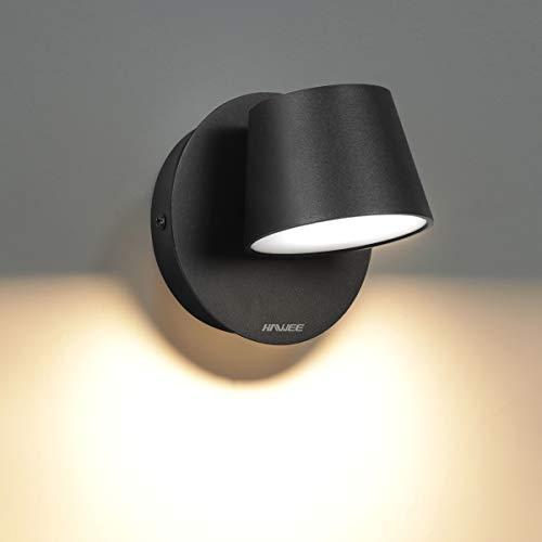 HAWEE Modern Wandleuchte LED Bettleuchte Lesen Lampe 350° Schwenkbares Nordic Stil Wandspots Innen LED Wandlampe für Schlafzimmer Wohnzimmer Flur Treppe, Schwarz 3000K