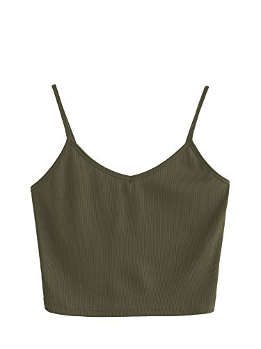 SheIn Women's Casual V Neck Sleeveless Ribbed Knit Cami Crop Top Army Green Medium