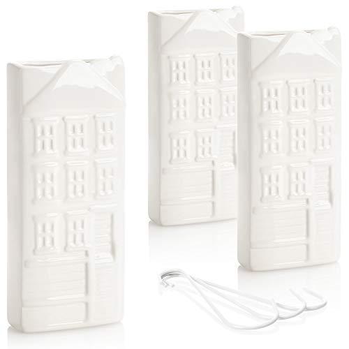 com-four Humidificadores 3X - Humidificador de radiador en Blanco - Difusor de Aire frío para Dormitorio - Evaporador de Agua de cerámica con Motivo de casa para el hogar (weiß - Haus)