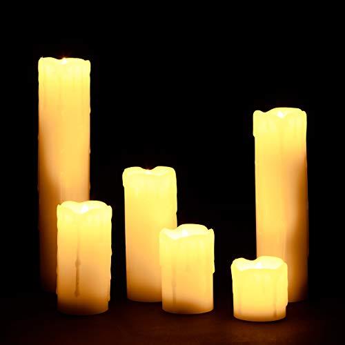 Relaxdays LED Kerzen Set, 6 Echtwachskerzen flammenlos, elektrische Kerzen flackernd, Batterie, Durchmesser 5 cm, creme