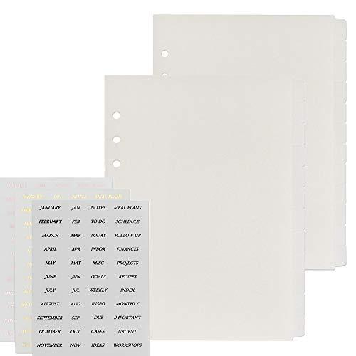 Multibey Transparent 6 Holes A5 Binder Divider Index with Tab Stickers PP Loose Leaf Refills Index Divider Separator Page for Spiral Planner Journal, 2 Packs 12 Tabs (24Pcs Divider N 3 Stickers Set)