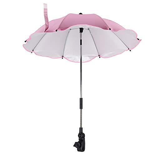 Ombrellino Parasole Passeggino Universale, Ombrellino Per Carrozzina, Protezione Anti UV, con Supporto Universale Flessibile e Inclinabile, Fissaggio per Tubo Rotondo o Ovale, 35,5 cm (Rosa)