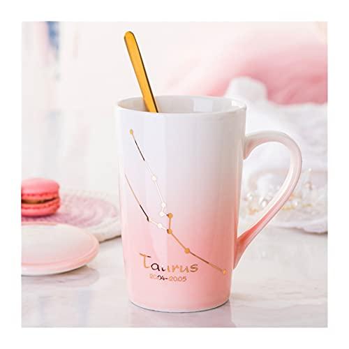 ZXCVB Tazas para Mujer Cerámica Té Infusor Taza Modelo de constelación Girly Style Pink 400ml con Cuchara y Tapa para café té de Leche (Color : Taurus)
