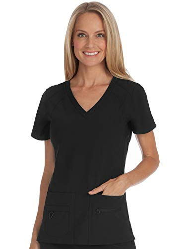 Med Couture Activate Women's V-Neck Racerback Scrub Top, Black, Small