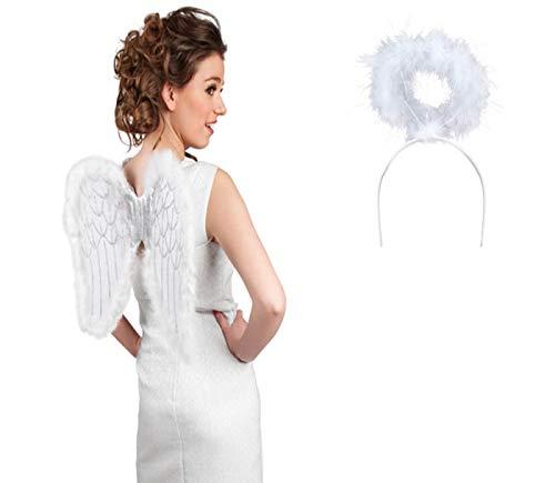 Déguisement d'ange blanc: 2 accéssoires: Ailes + auréole (KV-28A) flexible convenable aux adultes et aux ados accessoire idéal pour se déguiser et faire la surprise lors de vos soirées déguisées