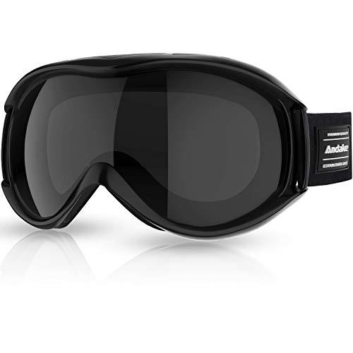 Andake Skibrille Snowboard Brille Doppel-Objektiv UV-Schutz Anti-Fog Skibrille Für Damen und Herren Jungen und Mädchen (Schwarz)