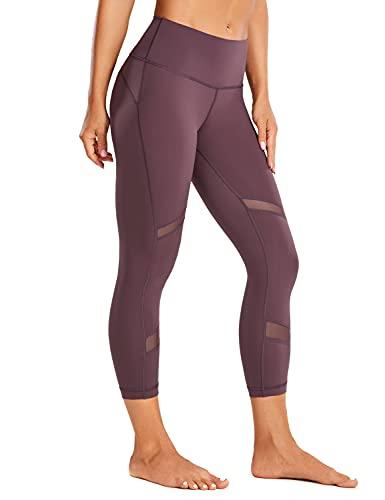 CRZ YOGA Deportivos Pantalones para Mujer Fitness Yoga Mesh Leggings con Bolsillo-53cm Violeta Claro 44