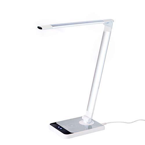 Lampada da Scrivania con Sensore Ottico, Lampada da Tavolo 72 Led SAFEx, Caricatore Wireless+USB; 10 Livelli di Luminosità Touch Control; 18W (Protezione Occhi) con 3 Tonalità di luce.