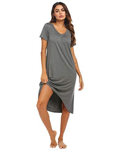 Ekouaer Women's Nightgown, Cotton Novelty Sleepshirts Short Sleeve Sleep Shirt Loose Comfy Pajama Sleepwear S-XXL Dark Gray