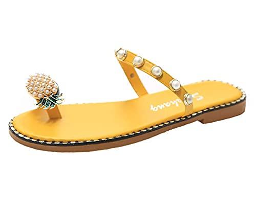 Sandalias de gladiador planas con perlas de diamantes de imitación de Bohemia para mujer, zapatos con anillo en el dedo del pie, sandalias planas, sandalias planas con diamantes de imitación, punta ab