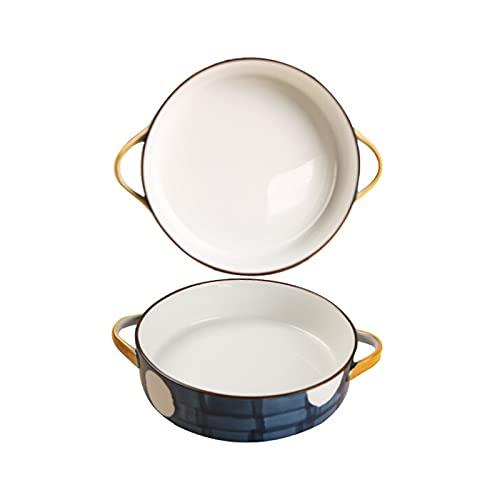 Kitchen Fuente de horno Conjunto de platos para hornear de cerámica de 2, cintas de hornear redondas con asa para la cena de pastel, banquete y cocina diaria, PANTES PINTADOS a mano 2 pieza fuente par
