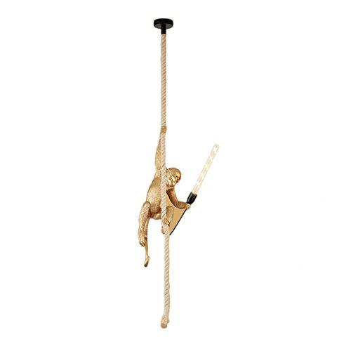 Lunettes de balle de singe Feuilles de résine de corde de chanvre pour la chambre Barre de café E27 lumière de plafond de singe de singe (or)