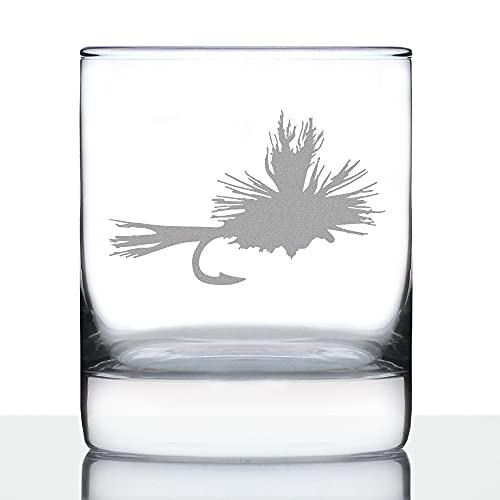 Fly Fishing Whiskey Rocks Glass - Unique Flyfishing Themed Gifts for Fishermen - 10.25 Oz Glasses