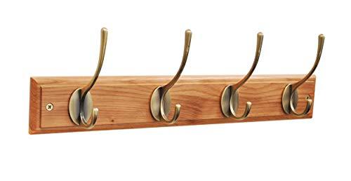 Headbourne Hr1071H garderobelijst in Victoriaanse stijl met 4 messing haken op een plank van eikenhout